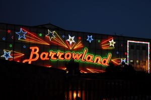 Starry sign of Barrowland lit up at night