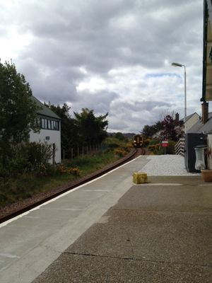train arrives at Plockton station