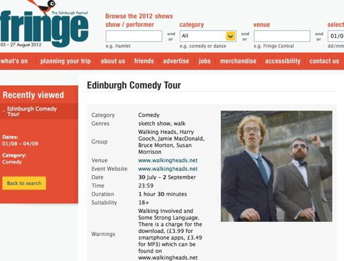 Edinburgh Comedy Tour listing