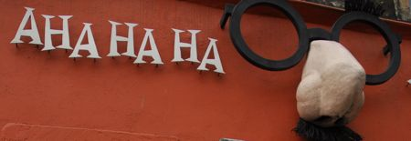 'ahaha' joke shop sign