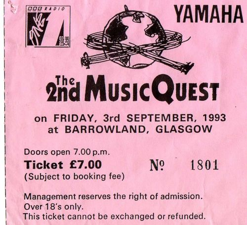 Ticket stub for 1993 gig at the Barras