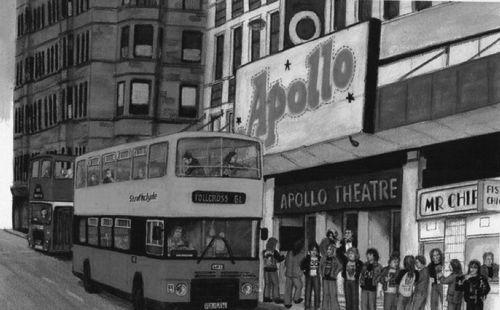 Black and white drawing of Glasgow Apollo