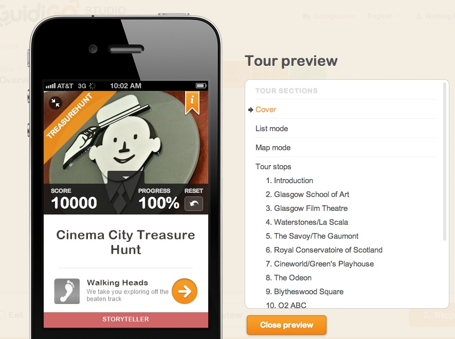 Screen grab of Cinema City app
