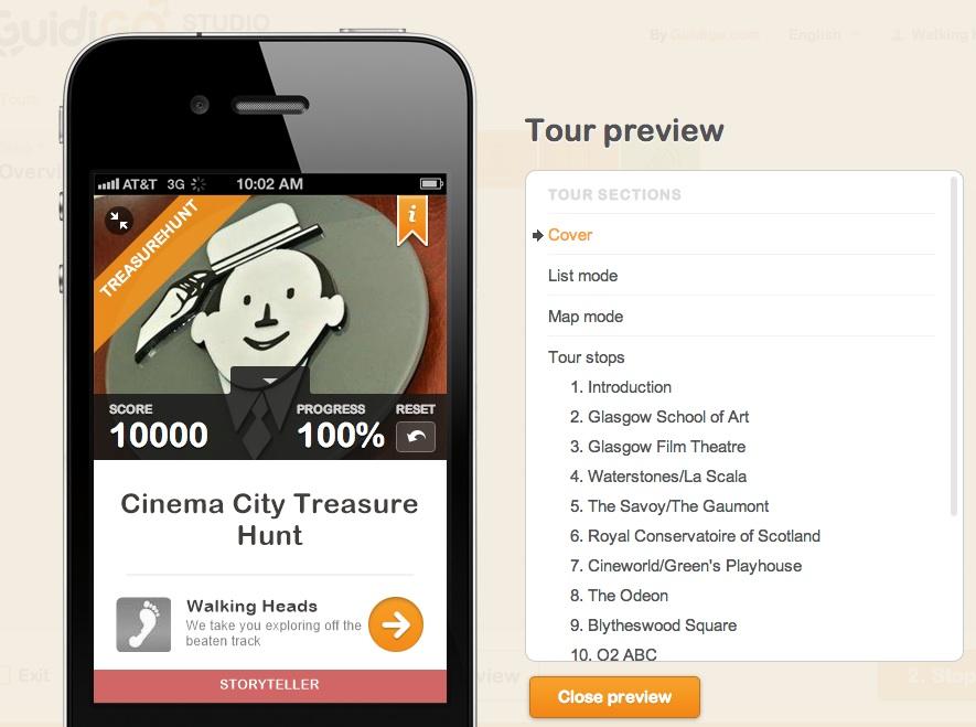 Screen grab of Cinema City app
