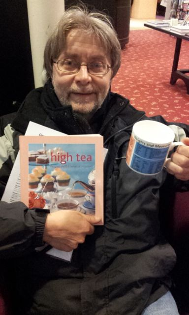 Team spirit: Richard Kirklees enjoying high tea in the old La Scala