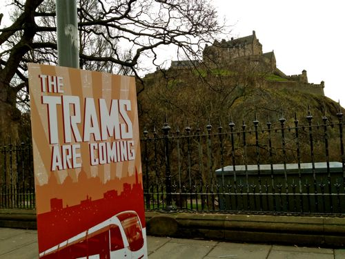 Trams are coming sign in Princes Street, Edinburgh