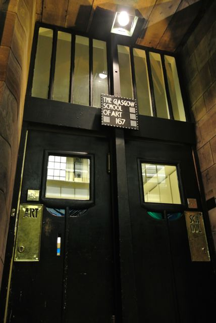 Light shining on GSA entrance at 167 Renfrew Street, taken before the fire