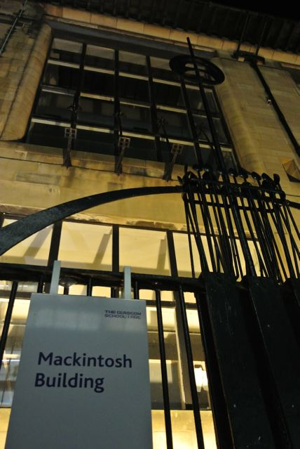 Entrance to Mackintosh Building at night taken before the fire