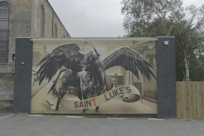 The Saint Luke's mural, a winged bull