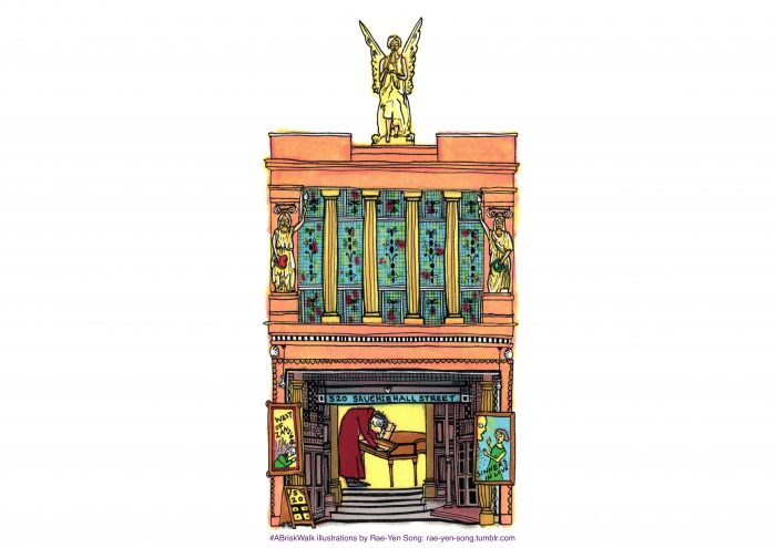 a hand drawn illustration of 520 Sauchiehall Street by Rae-Yen Song