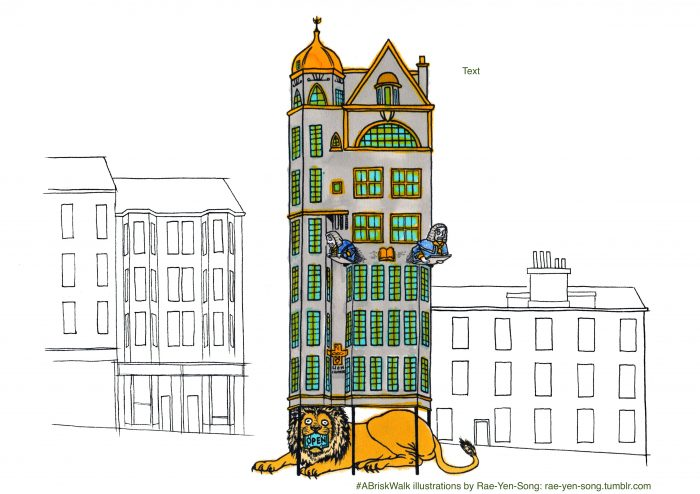 The height of architectural audacity. Hand-drawn illustration of the Lion Chambers by Rae-Yen-Song