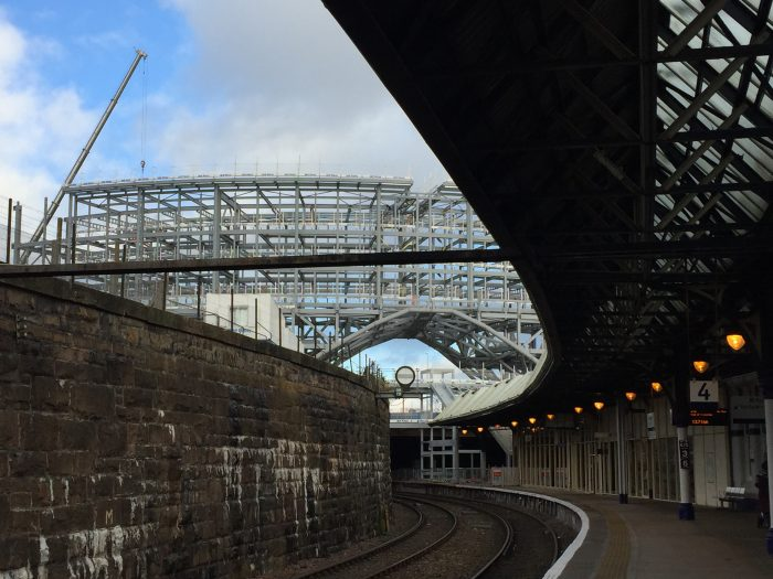 Culture symbol? Frame of new Dundee station under construction above Platform 4