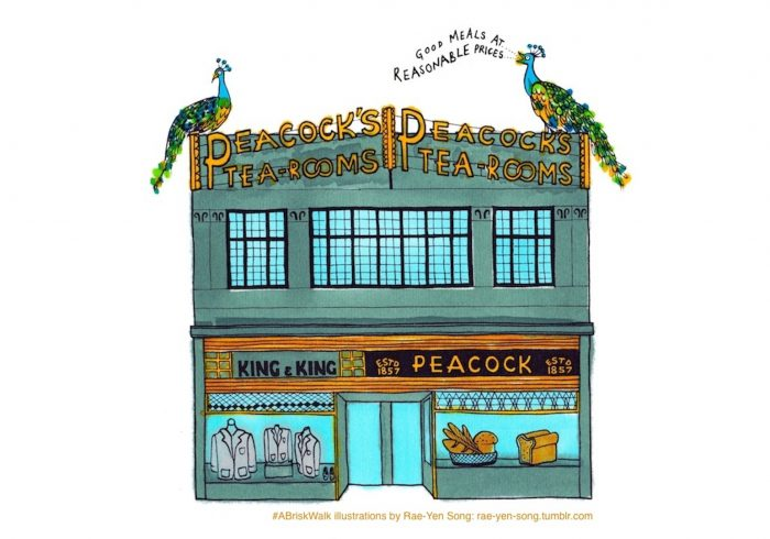 Proud art deco – Rae-Yen Song's illustration shows the tearoom with peacock's resplendent on the roof
