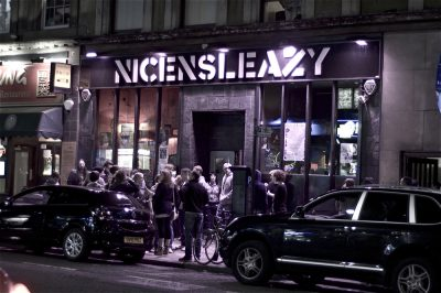 A crowd outside Nice N Sleazy