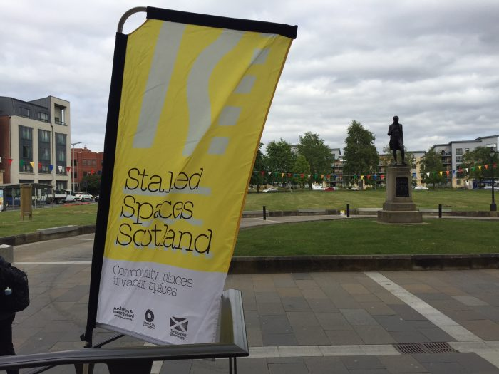 Stalled Spaces banner outside Paisley Town Hall