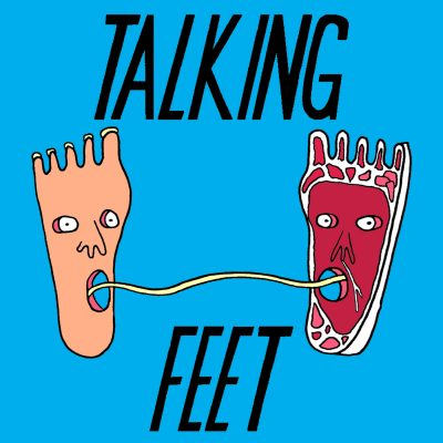 Talking Feet logo by Rae-Yen Song, two feet with wide-eyed, open mouthed faces