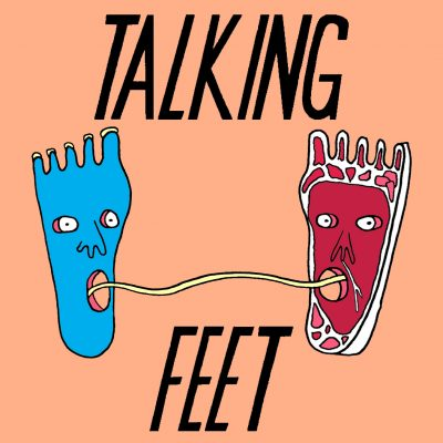Talking Feet logo, shows feet with expressively open eyed open mouthed faces