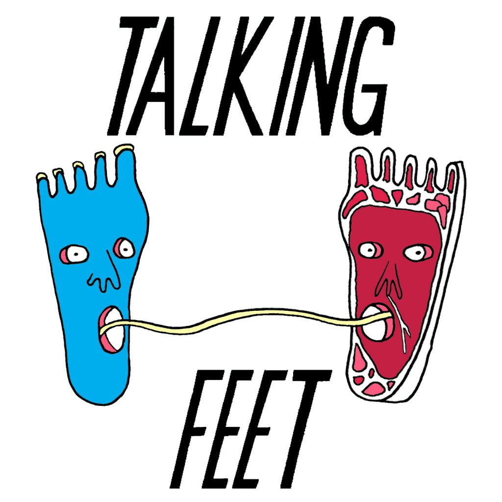 Talking Feet podcast logo by Rae-Yen Song, the conversational feet this time shown on a white background