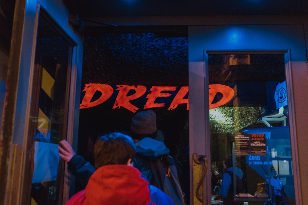 Queueing up for the full Dread Glasgow zombie experience during Dawn of the Dead treasure hunt: image Ingrid Mur for Glasgow Film Festival 2018