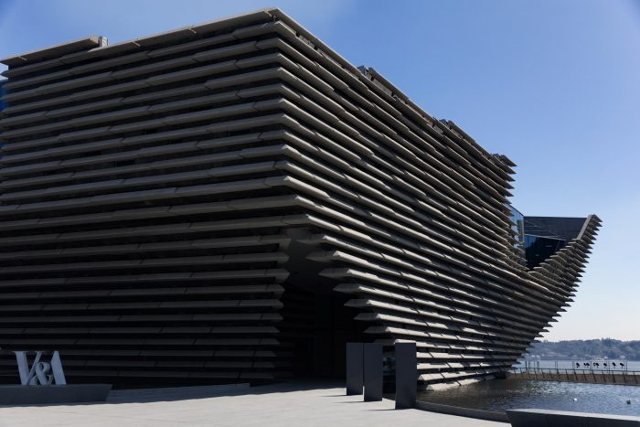 Inverted pyramid of layered concrete, Kengo Kuma's V&A Dundee, image Ronnie Macdonald CC By 2.0