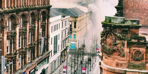 A striking image looking down on Sauchiehall Street, smoke billowing across the newly tree-planted pedestrian area